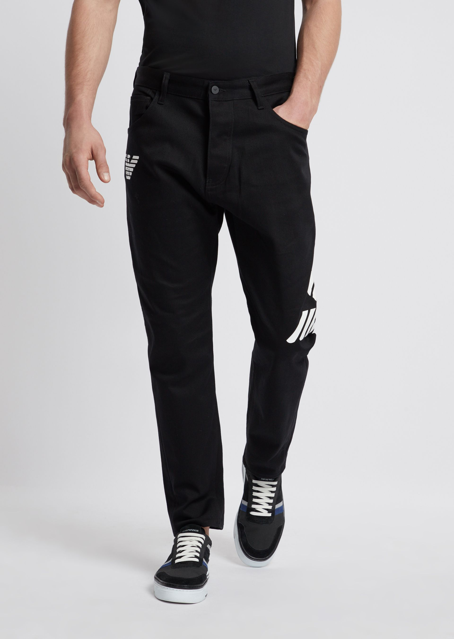 c69510ddd4 Loose fit J04 stretch bull cotton jeans with logo prints